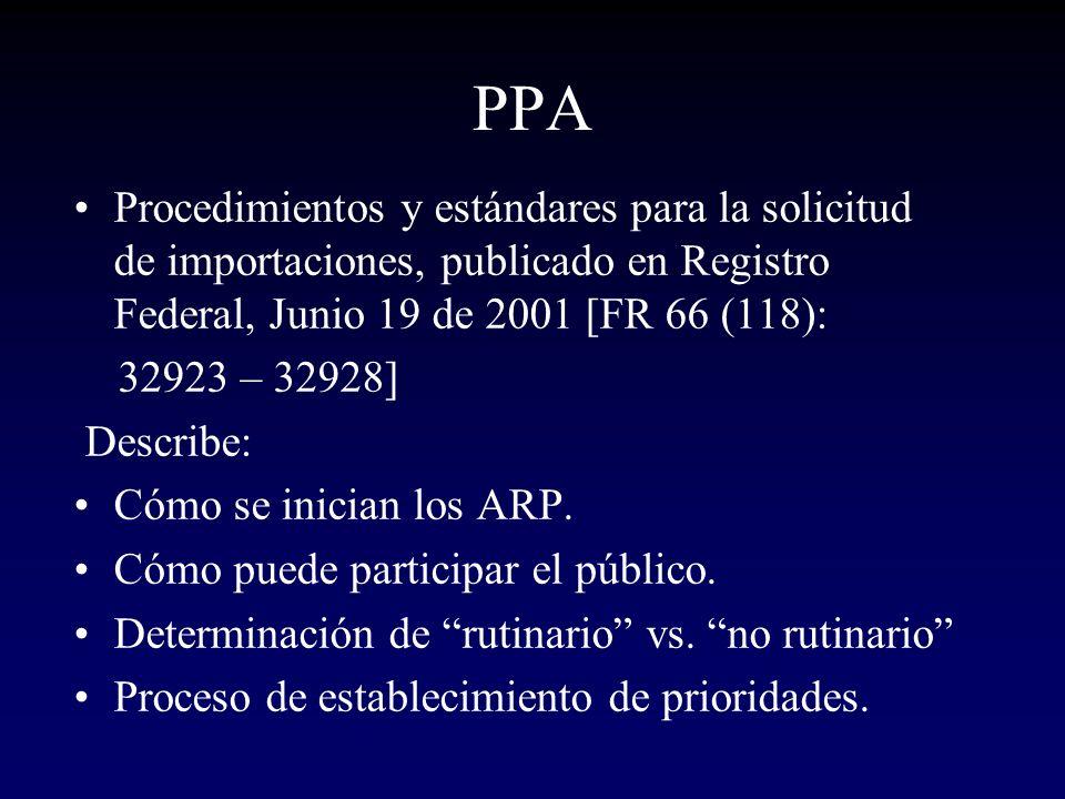 PPA Procedimientos y estándares para la solicitud de importaciones, publicado en Registro Federal, Junio 19 de 2001 [FR 66 (118):